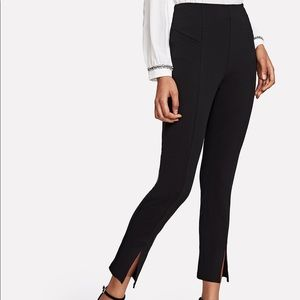 Pants - Black Split Cropped Hem Pants